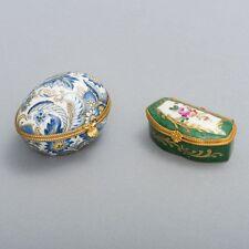 2 Antique Limoges Porcelain Hinged Lid Trinket Boxes Gold Gilt Egg & Rectangle