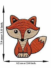 Fox Animal Zoo Wild Forest Cartoon Kids Cute Smile V02 Applique Iron on Patch
