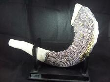 Shofar in Silver and White  with Jerusalem Imagery -  Judaica Jewish Israel Gift