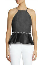 Waist Cinch: 3.1 Phillip Lim £500 Jacquard & Leather Peplum Top NWT US2/UK6-8