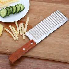 Crinkle Potato Chip French Fry Cutter With Wavy Blade Wooden Handle Tool