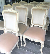 Set 10 French Louis Hamptons Antique Ornate Velvet Dining Kitchen Carved Chairs