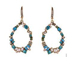 NEW Fashion Glamour Blue Green Crystal Dangler Drops Balees Hoops Earrings Gift