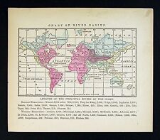 1857 Morse Map World - River Basins - Mississippi Nile Ganges Amazon Orinoco