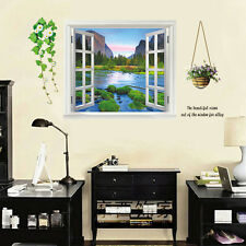 Window 3D Mountain River Landscape View UK Wall Sticker