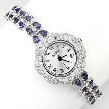 Sterling Silver 925 Stunning Genuine Natural Iolite Bracelet Watch 7 Inches