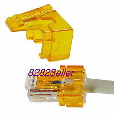 100PCS orange RJ45 plug SOS modular connector fix Replace Repair(No tool needed)