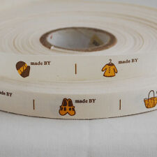 Cotton Fabric Ribbon - Sewing Label - Made By
