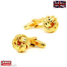 Cool Men's Women's Classic Gold Knot Cufflinks Novelty Design Cuff-links