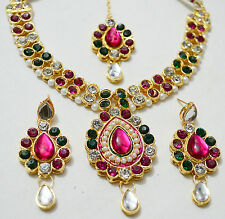 Designer Gold Plated Kundan Diamonds Necklace Earrings Tika Party Jewellery Set