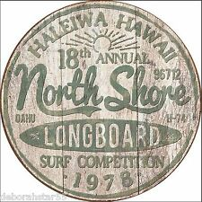 Hawaii Holiday North Shore Surf Board Vintage Weathered Metal Tin Sign 2054 New
