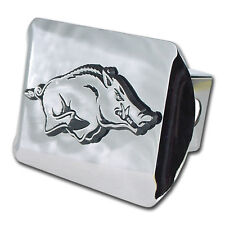 arkansas running hog logo all metal shiny chrome trailer hitch cover made in usa