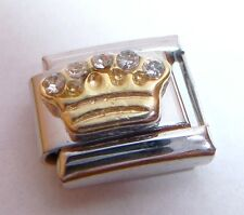 GOLD CROWN CLEAR GEMS Italian Charm Tiara Princess 9mm fits Classic Bracelets