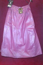 Vintage pink real Italian Nappa leather maxi flared skirt