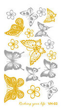 VH0003 Glitter Body Tattoos Golden Silver temporales Stickers Butterfly Tattoos