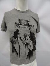New Villains & Vagabonds Gangster Gangsta Gun Mafia Men's T-Shirt Gray Small