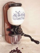 DELFT BLUE DUTCH CERAMIC VINTAGE OLD WALL MOUNT COFFEE GRINDER MILL 20e HOLLAND