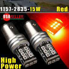 2 X Pure Red 1157 BAY15D 15W High Power LED Parking Light 1157A 7528 2357 Lamps