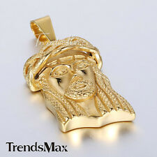 Trendsmax Mens 316L Stainless Steel Jesus Head Pendant Gold Tone Fashion Jewelry