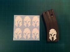 AR Magazine Sticker 6 Pack, WAR TORN SPARTAN HELMET, AR 15, AK, WHITE!