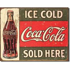 Coca Cola Coke Ice Cold Sold Here Advertising Vintage Retro Style Metal Tin Sign