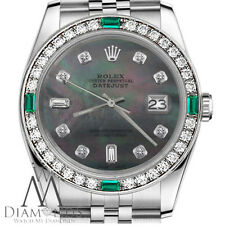Women`s Rolex 31mm Datejust Black MOP with 8 + 2 Diamond Emerald  Watch