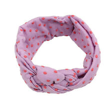 Baby Kids Girls Stretch Polka Dot Turban Knot Headband Hair Band Headwrap Purple