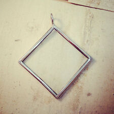 Square Diamond Geometric Silver One-Sided Glass Frame Necklace, Pendant & Chain