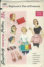 S 1810 sewing pattern 50's APRON clutch BAG CAP HAT CUMMERBUND SLIPPERS sew HTF