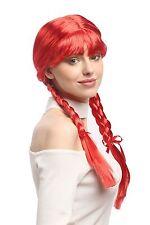 Wig Ladies Carnival Cosplay Carnival Pigtails braided Schoolgirl Red