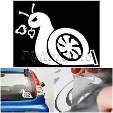 1x Cute White BOOST SNAIL Turbo JDM For Auto Car Truck Vinyl Decal Sticker Decor