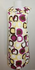 New Womens Max and Cleo Sheath Dress White Yellow Pink Brown Size 12 Large $88