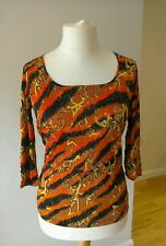 Red Barb tiger Print top from Versace Jeans RRP £115.00 size 12-14