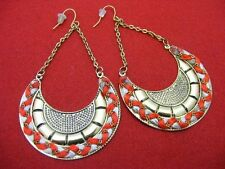 $18 Spring Street Red Woven Half Disc Fashion Earrings Brass Metal Dangle Style