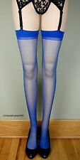 SHEER PLAIN TOP Thigh High Stockings 1725 ROYAL BLUE O/S