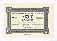 Oberrheinische Bauindustrie AG  20 Reichsmark 1924  Freiburg i. Br.