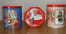SANTA CLAUS Christmas Tins lot of 3 Coke & Vintage Post Card look on One