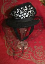 Fantstic Antique Vintage Ladies Black Felt Tilt Hat Fascinator Rhinestones