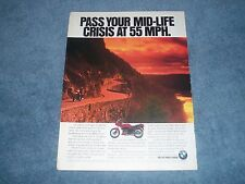 """1994 BMW K75S Vintage Motorcycle Ad """"Pass You Mid-Life Crisis at 55 MPH"""""""