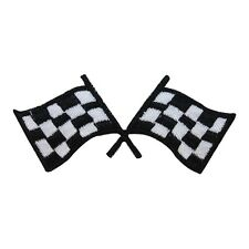 ID 1494 Checkered Racing Flag Embroidered Iron On Applique Patch