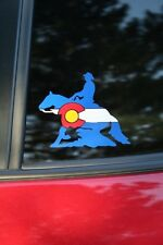 Colorado Flag Reining Horse Die-cut Car Window Sticker