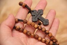 Holy Land Olive Wood Rosary Jerusalem Soil Cross Hand Made Rosary Olive Beads