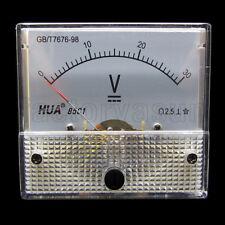 DC 30V Analog Panel Volt Voltage Meter Voltmeter Gauge 85C1 0-30V DC White