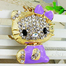Crystal Keychain Cat Key Chain Ring Hello Kitty Rhinestone Keyring Bag Charm A