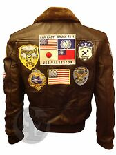 Tom Cruise Top Gun Brown Fur Real Cowhide Leather Men Fighter Jet Pilot Jacket