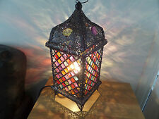 Stunning Moroccan Style colourful Jeweled Cutwork Flower Table Lamp  Brand New