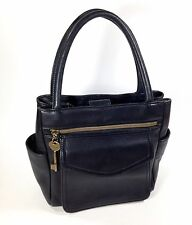 Fossil Black Leather Handbag Key Tote Purse Shoulder Bag 1954 Square  75082