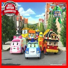 NEW 4 Pcs Robocar Poli Ambe Roy Helly Robot Transformers Toys Kids Educational