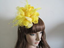 Sunshine Yellow Wedding Feather Hair Fascinators Clip Corsage Brooch Headwear