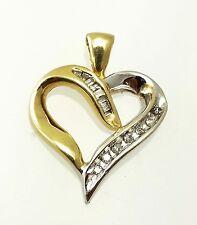 10k Two-Tone Gold Diamond Heart Pendant